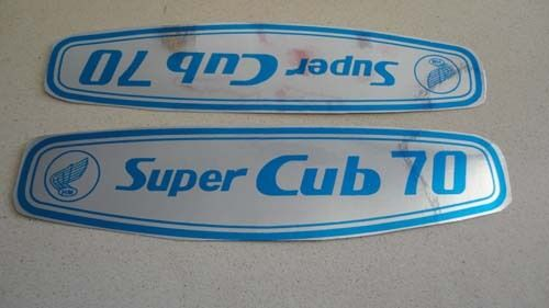 honda c70 super cub gas tank paper blue stickers logos