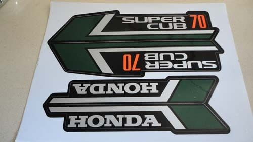 honda c70 super cub 70 green paper stickers logos emblems