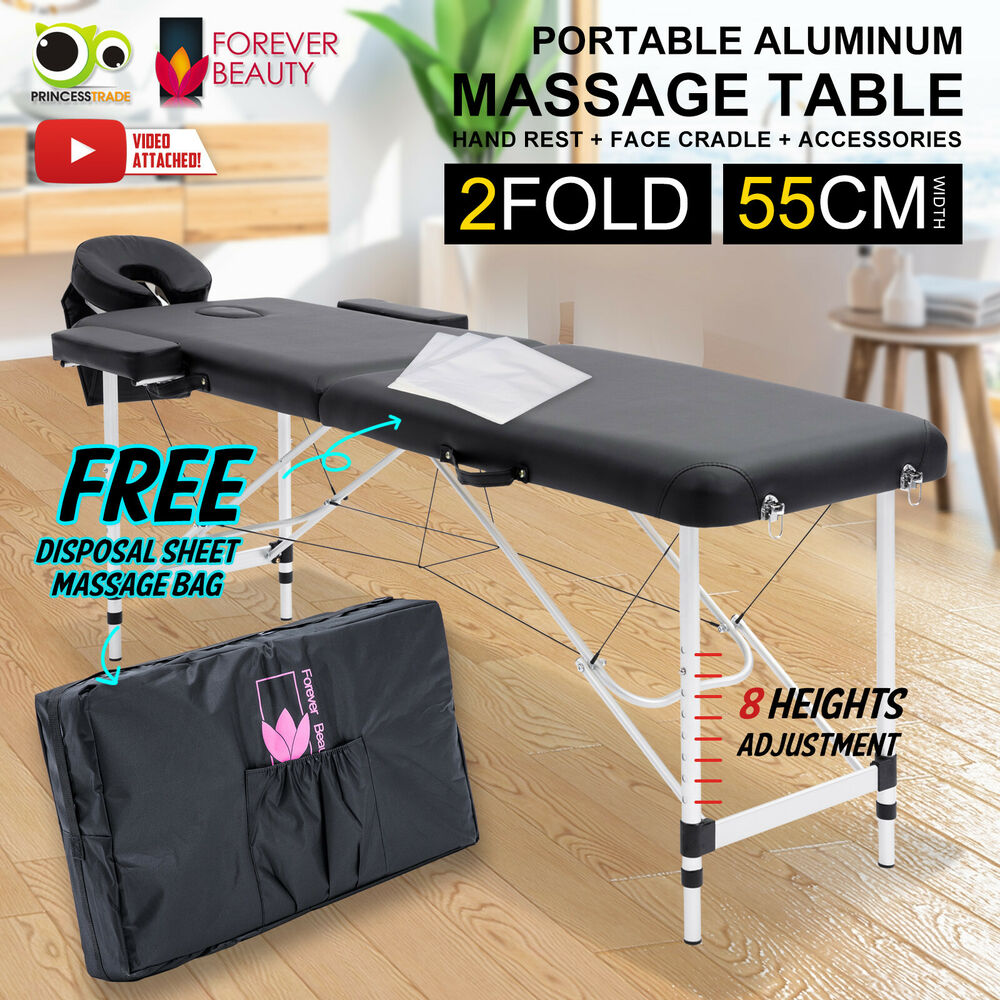 Aluminium Portable Massage Table 2 Fold Beauty Therapy Bed Waxing 55cm  BLACK 9352338007161 | EBay