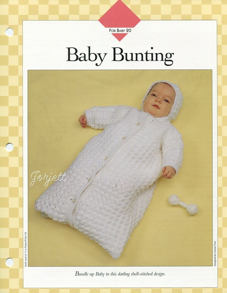 baby bunting shell stitch design in 6 month size crochet pattern ebay. Black Bedroom Furniture Sets. Home Design Ideas