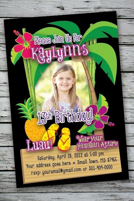 luau tropical invitation printable 50th 1st birthday party photo print hawaiian