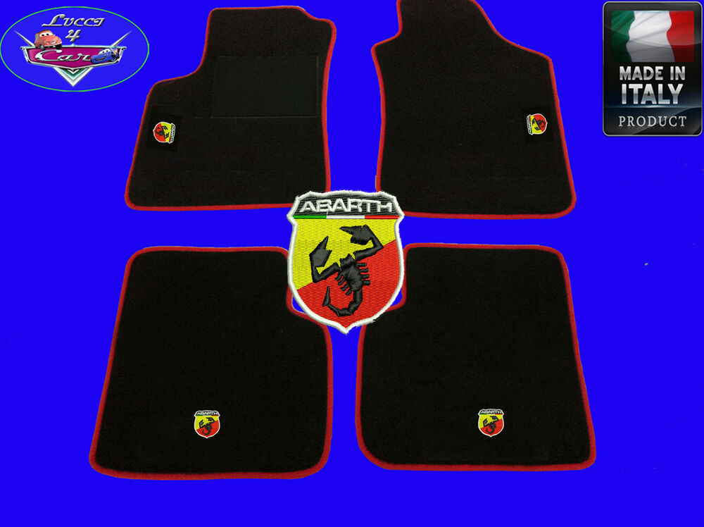 tappetini tappeti fiat grande punto abarth logo su misura ricamati ebay. Black Bedroom Furniture Sets. Home Design Ideas