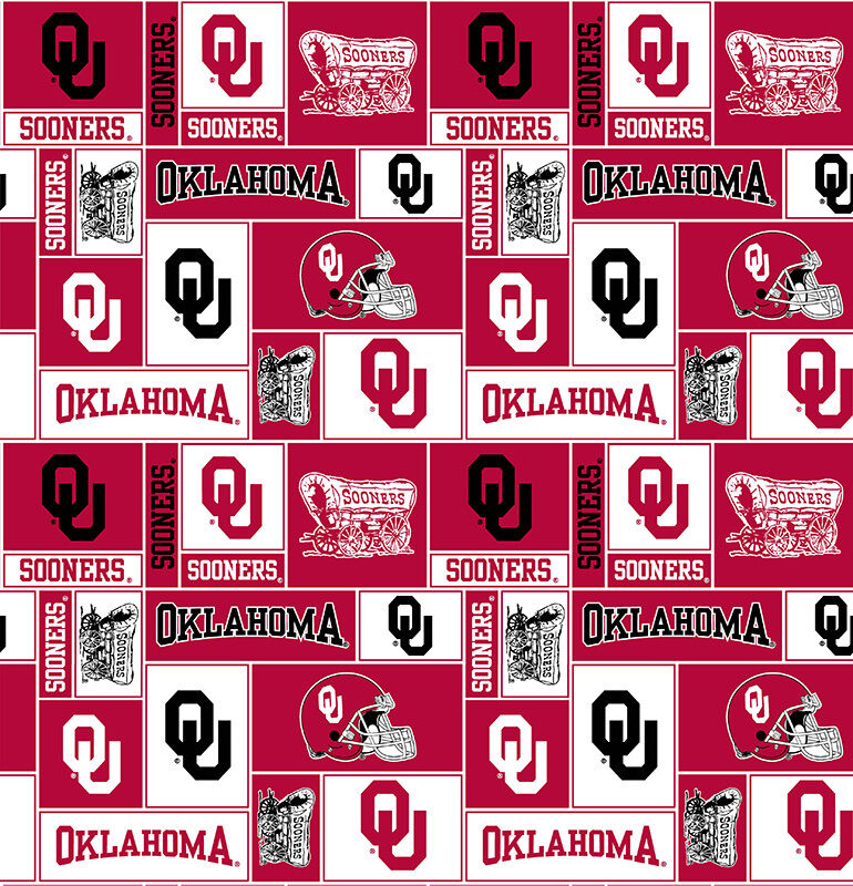 college university of oklahoma sooners print fleece fabric by the yard sou012s ebay. Black Bedroom Furniture Sets. Home Design Ideas