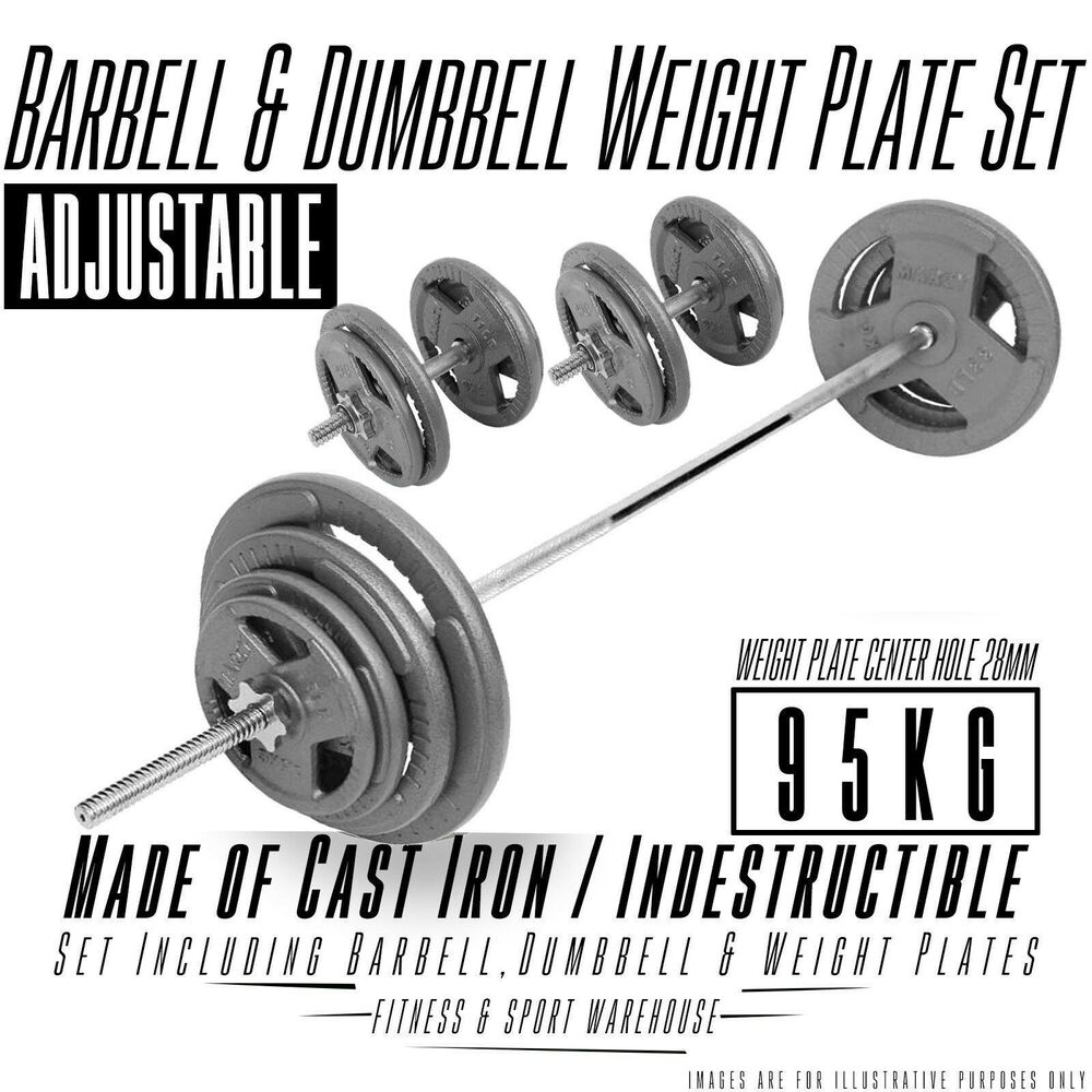 Exercise Barbell Dumbbell: 95Kg Weights Adjustable Hammerton Barbell/Dumbbell Set