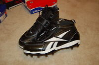 REEBOK MENS FOOTBALL NFL CLEATS SHOES SIZE 13.5 HARD LINK PLAY DRY BLACK WHITE