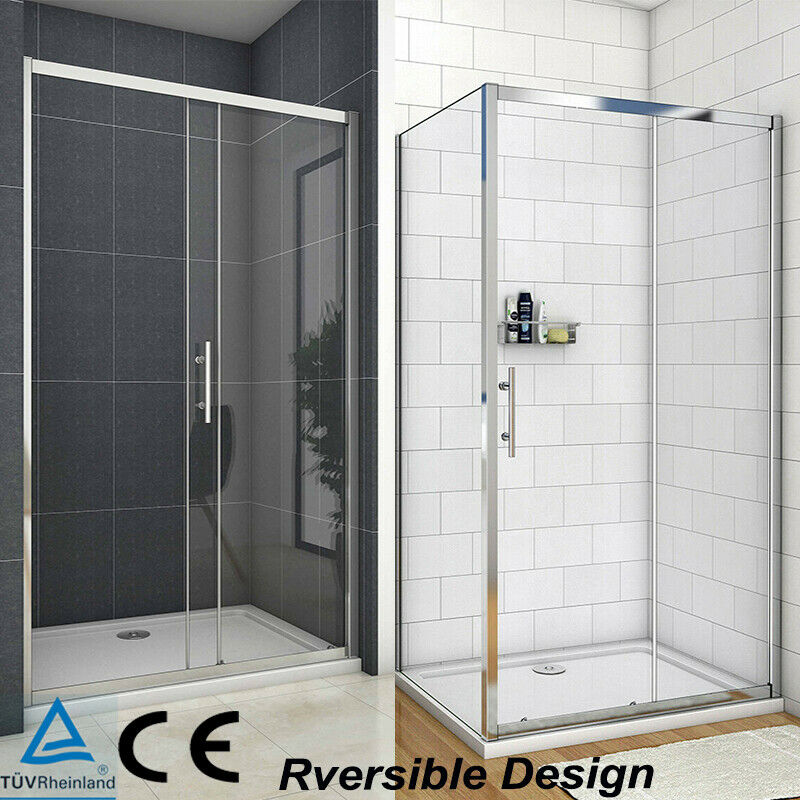 Walk in sliding shower door enclosure glass screen cubicle side panel stone tray ebay - Walk in glass shower enclosures ...