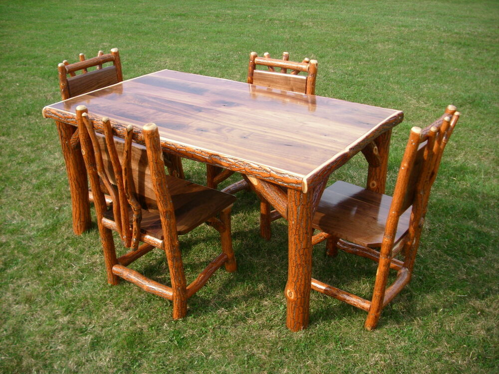 Sassafras Walnut Rustic Log Kitchen Table 4 Chairs Amish