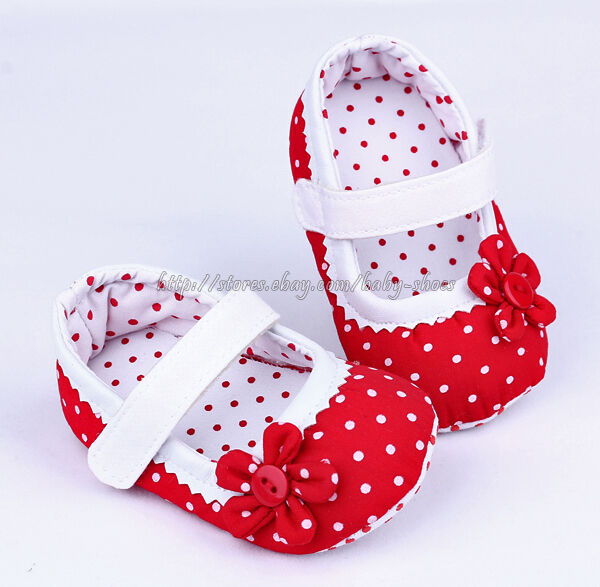 Red Mary Jane Toddler Baby Girl Polka Dot Soft Sole Shoes ...