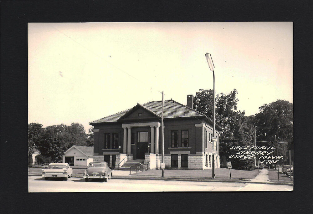 Osage iowa ia 1950s rppc sage public library building for Cost to build a house in iowa