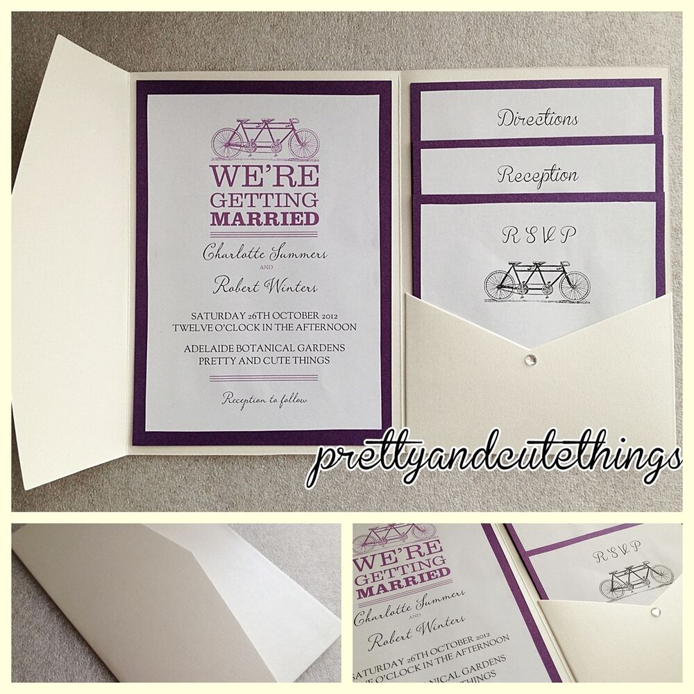 ivory cream vintage wedding invitations diy pocket fold envelopes card