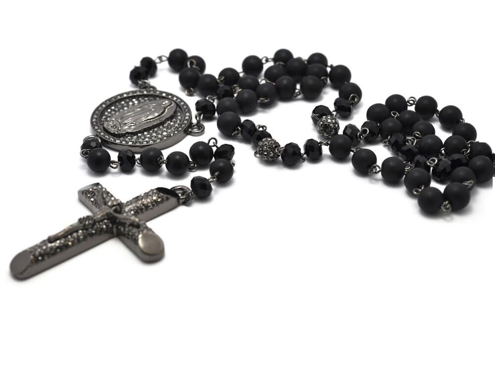 Black Crystal Pave Cross Rosary Beads Hip Hop Chain Men