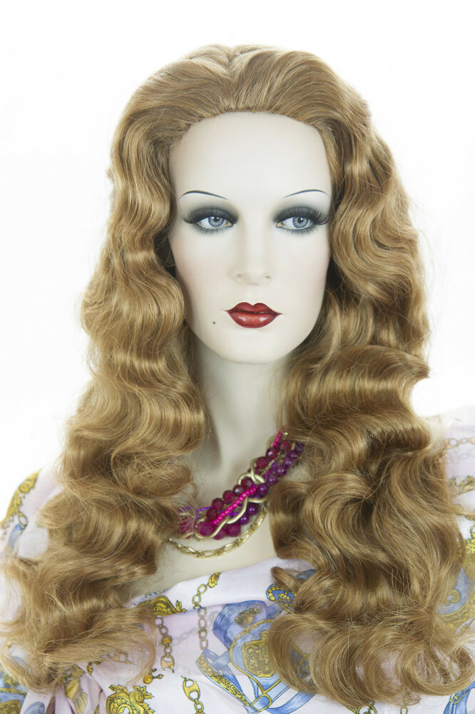Strawberry Blonde Red Long Skin Top Wavy Curly Wigs | eBay