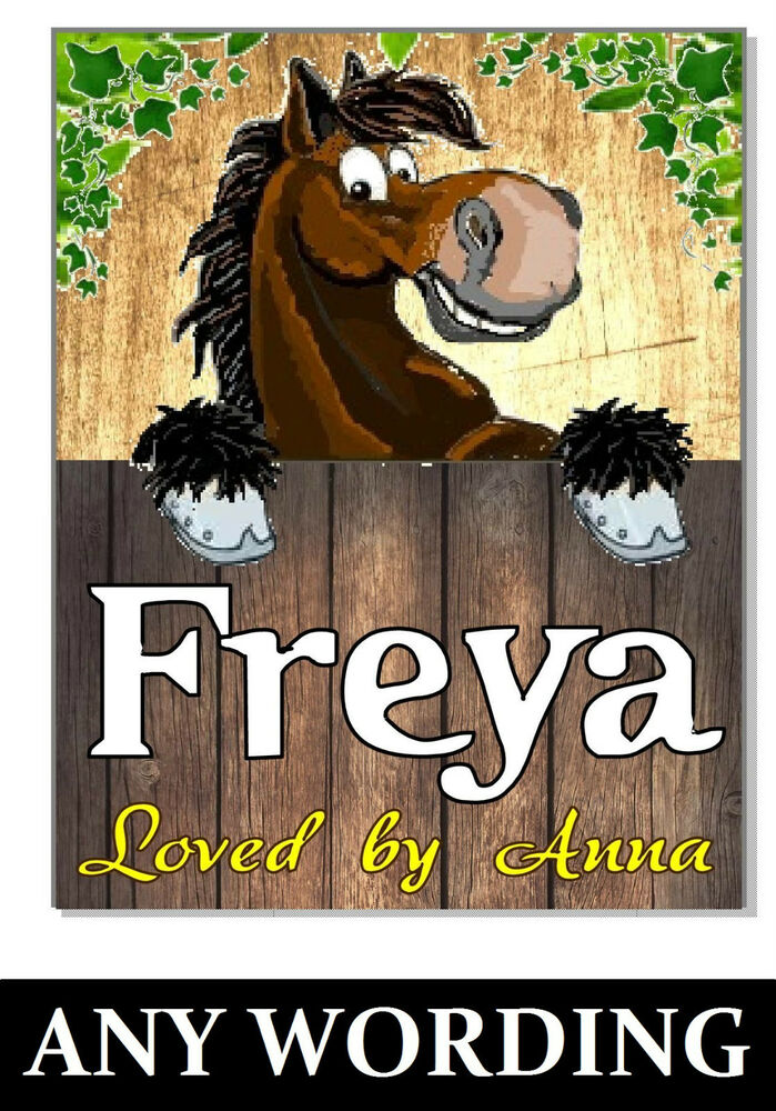 Personalised Name S Bay Horse Pony Sign Plaque Stable