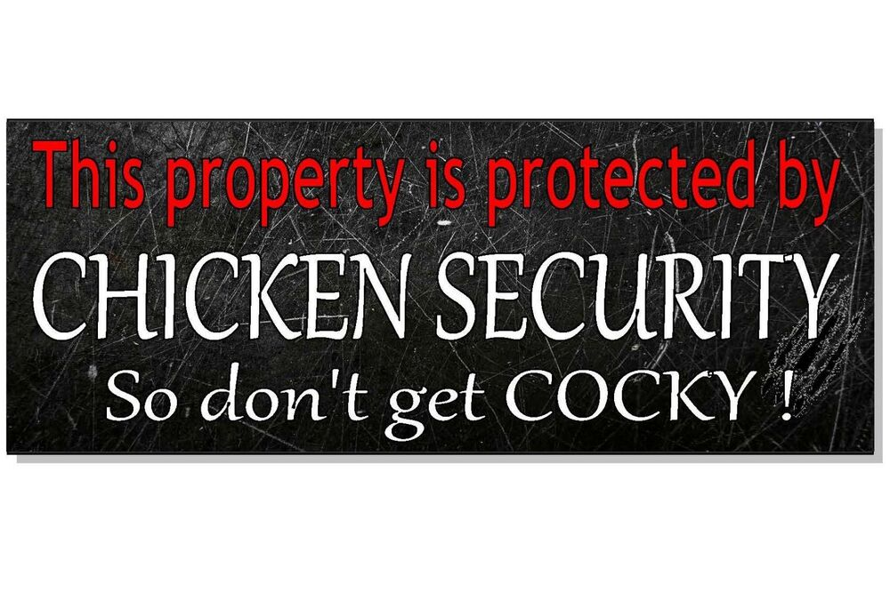 Chicken Funny Signs Quotes: FUNNY CHICKEN SECURITY Warning Plaque Sign House Front