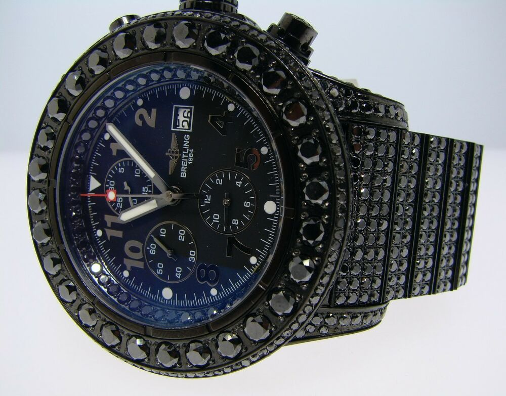 breitling super avenger black on black diamond watch 42 ct