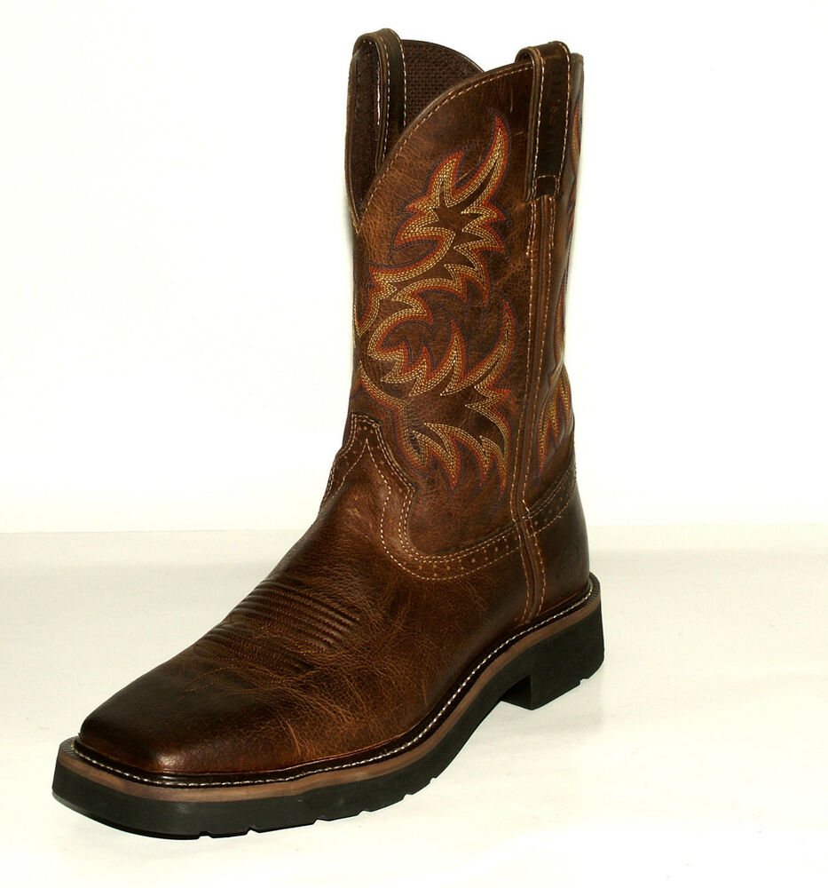 Rugged Tan Cowhide Square Toe Original Work Boots Men S