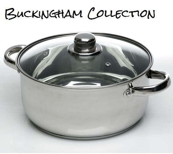 24cm 6l induction casserole dish vented glass lid stainless steel stock pot pan ebay. Black Bedroom Furniture Sets. Home Design Ideas