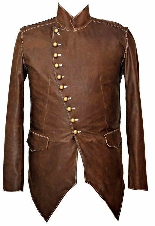 Mans 100% REAL LEATHER Brown Steampunk Jacket Military ...