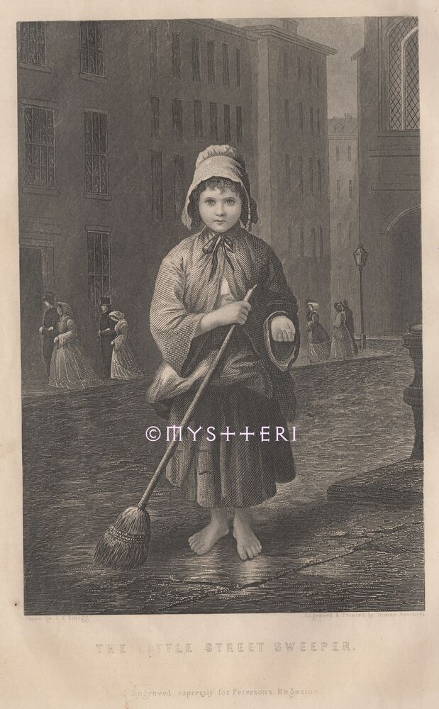 Little Girl Is Street Sweeper-Urchin-Poor Child-1800's ...