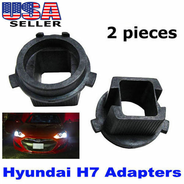 2 H7 Hid Xenon Bulbs Adapters Holders For Hyundai