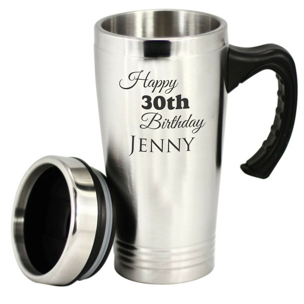 custom engraved personalised stainless steel travel mug coffee cup thermos flask ebay. Black Bedroom Furniture Sets. Home Design Ideas