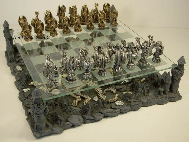 Pewter metal medieval times dragon fantasy gothic chess - Decorative beautiful chess sets ...