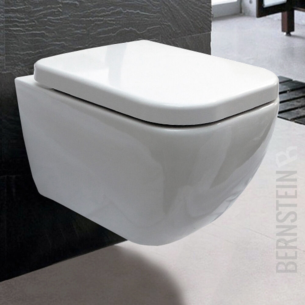 bernstein luxus wand h nge wc toilette wandh ngend absenkautomatik ch101 ebay. Black Bedroom Furniture Sets. Home Design Ideas