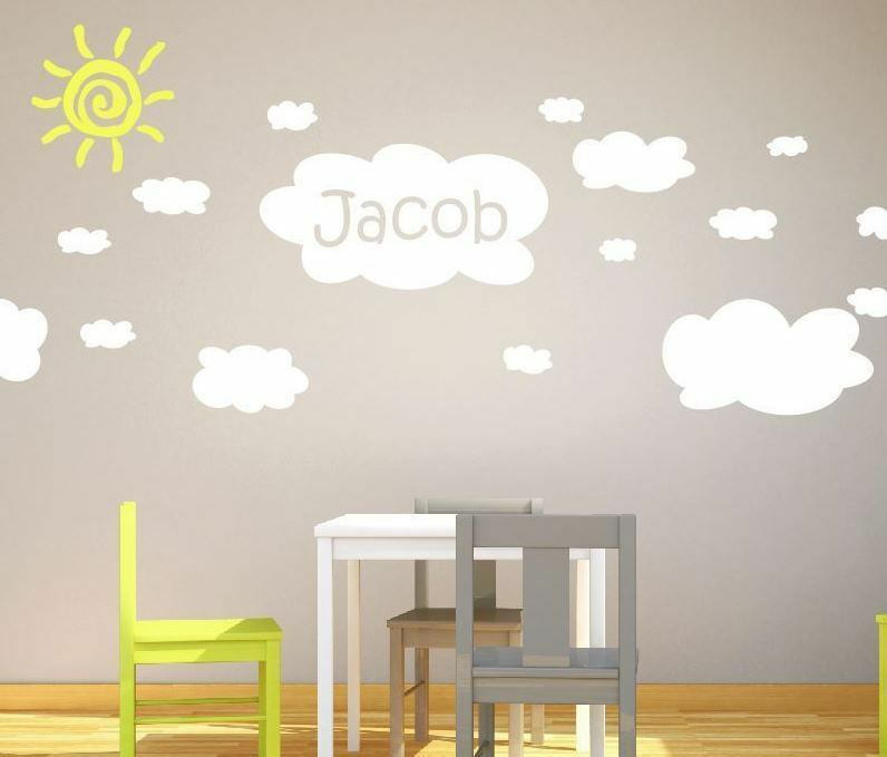 20 Extra Large Cloud Wall Stickers With Custom Name Nursery Baby