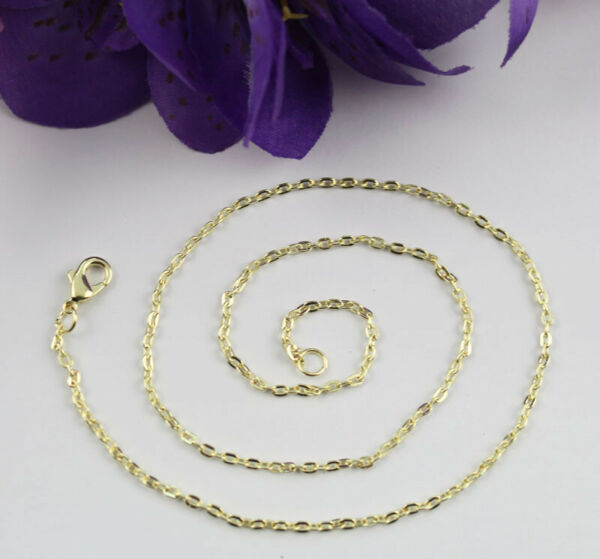 12PCS Gold plate 3x2mm cable link chain necklaces #22564 at various sizes