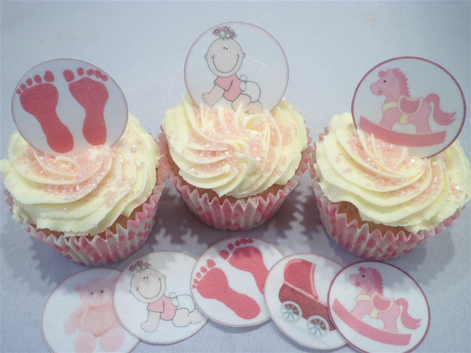 Edible Cake Top Decorations : Its A Girl Baby Shower Edible Cupcake Toppers Cake ...