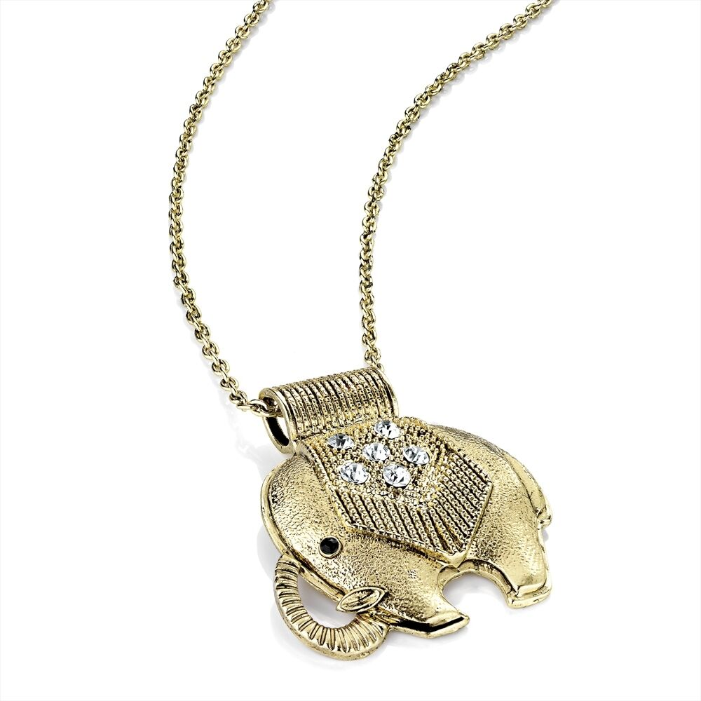 GOLD COLOUR DIAMANTE CRYSTAL INDIAN AFRICAN ELEPHANT ...