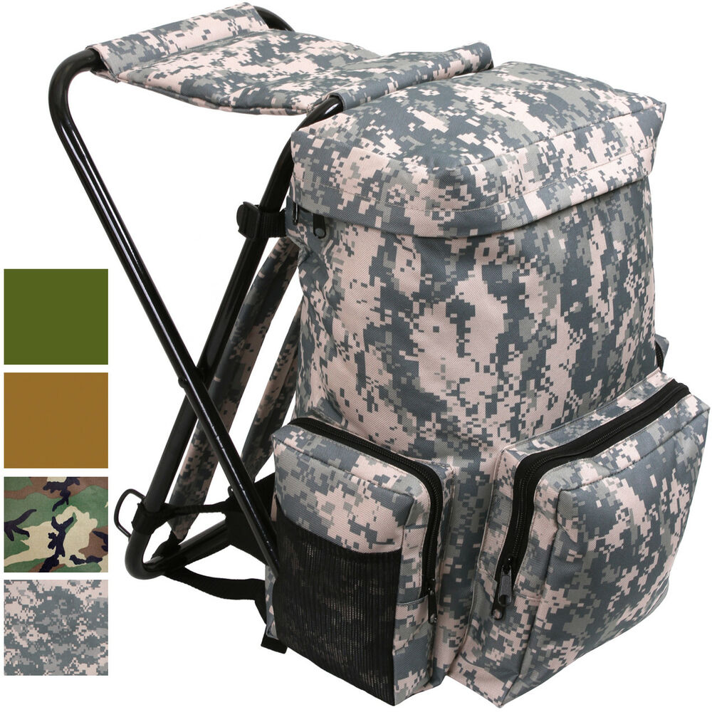 backpack stool combo camping outdoor pack ebay. Black Bedroom Furniture Sets. Home Design Ideas