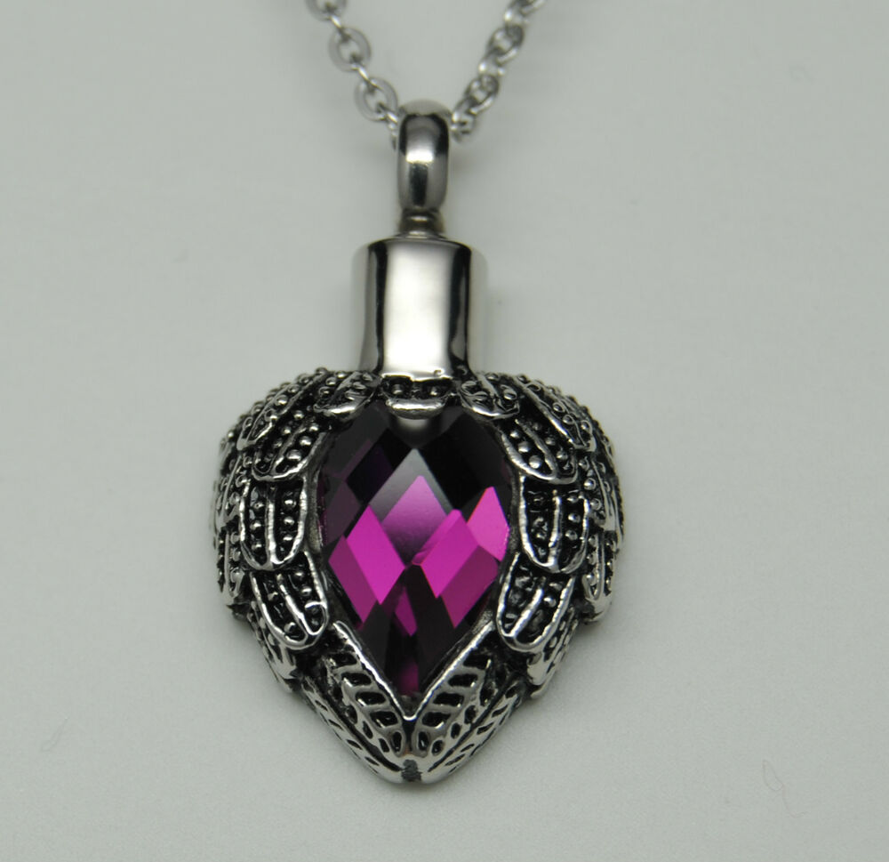 Purple wings heart cremation urn necklace angel wings for Cremation jewelry for pets ashes