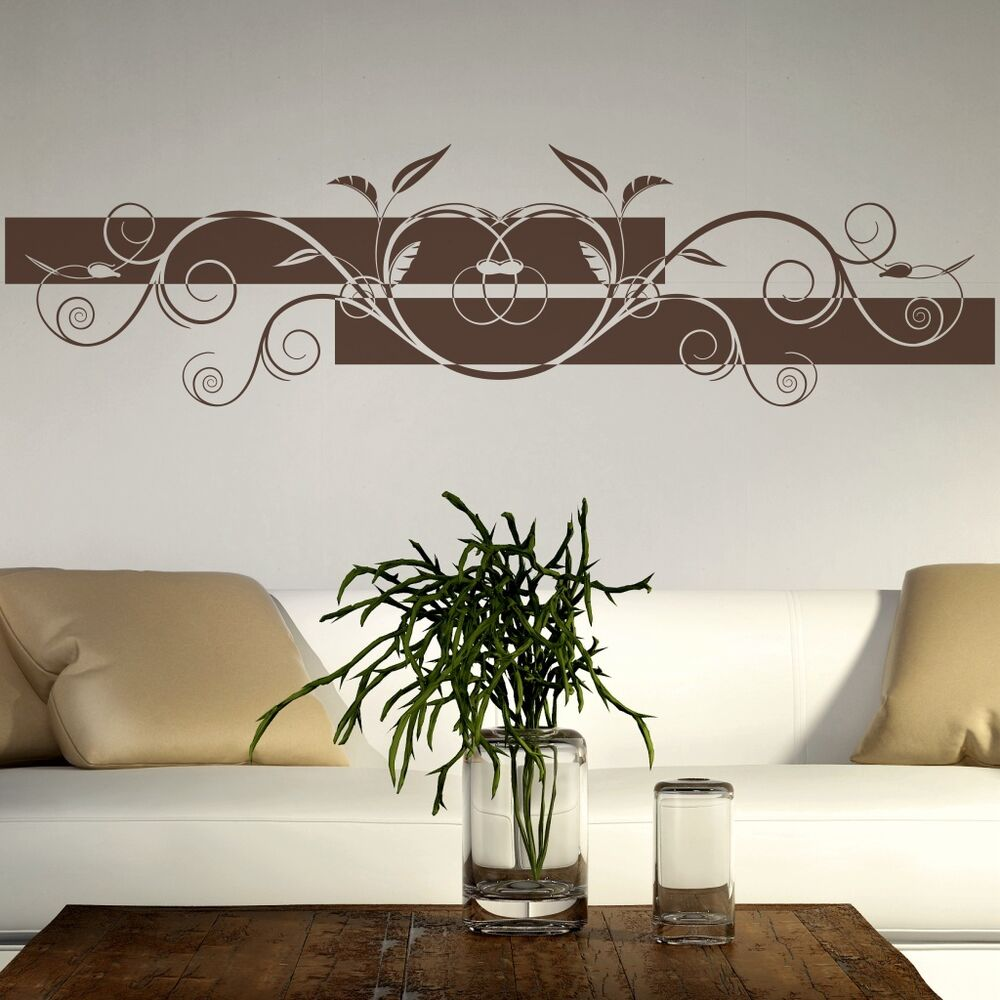 wandtattoo blumen ranke wohnzimmer schlafzimmer wandbanner wandaufkleber ban32 ebay. Black Bedroom Furniture Sets. Home Design Ideas