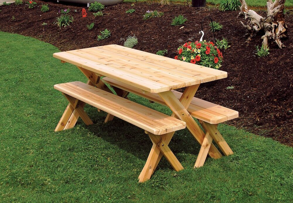 Outdoor 4Ft Picnic Table Cross Legged 2 Benches *8 Stain ...