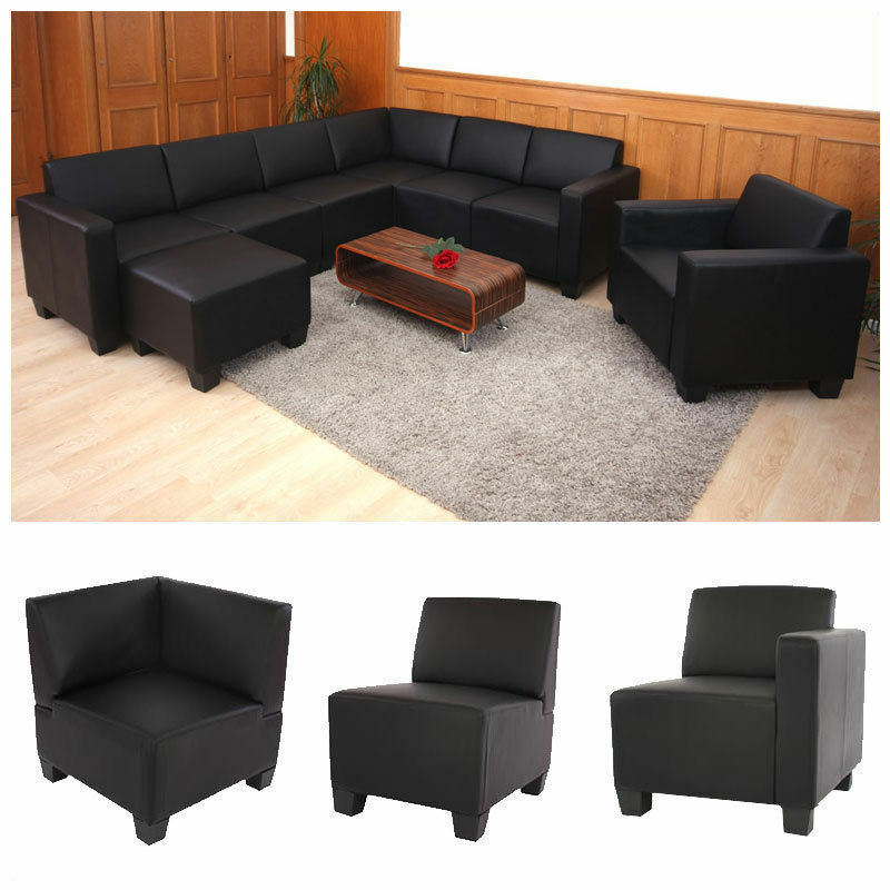 canap l ment lyon syst me de canap modulaire simili cuir noir ebay. Black Bedroom Furniture Sets. Home Design Ideas