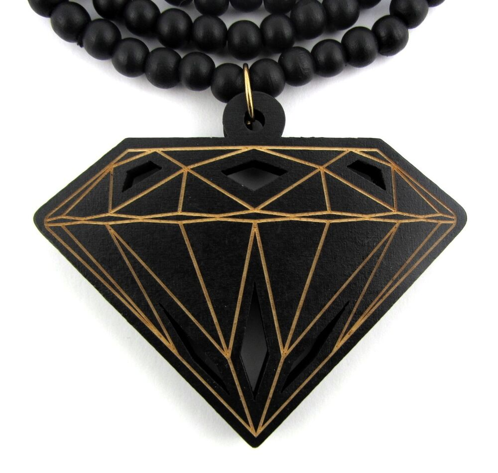 Wooden diamond supply co pendant hip hop chain necklace for How to make a wooden pendant