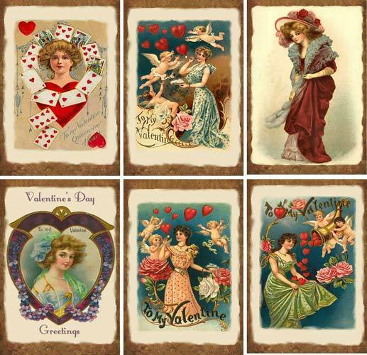 vintage valentine heart ladies cards tags scrapbooking
