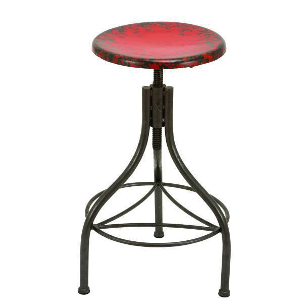 Urban Industrial Red Metal Adjustable Bar Stool Distressed