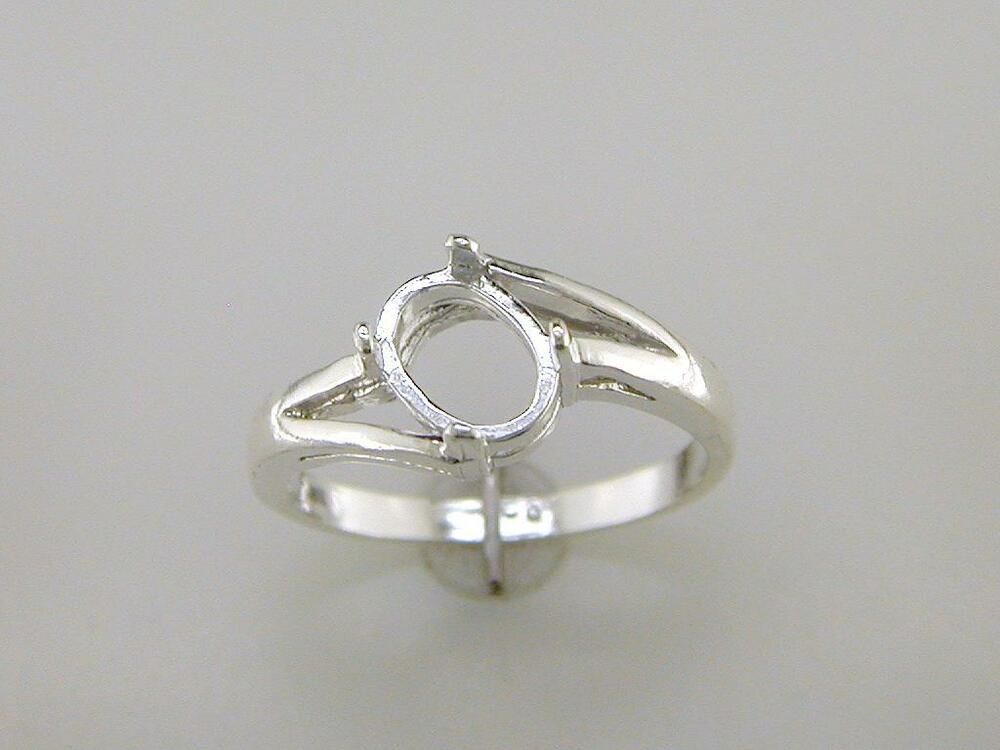 offset bypass oval cabochon solitaire ring setting sterling silver ebay. Black Bedroom Furniture Sets. Home Design Ideas