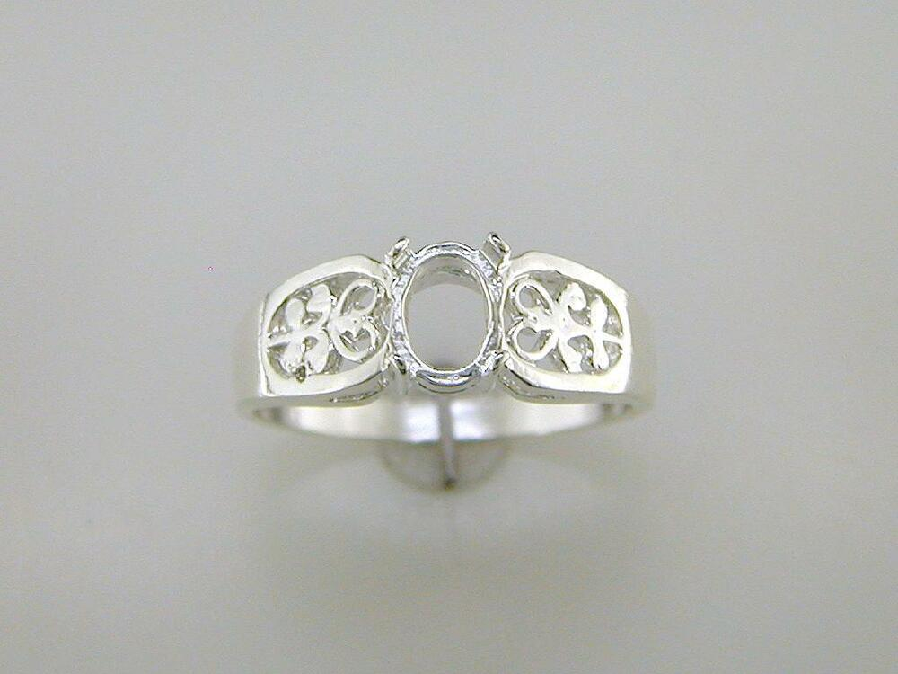 oval cabochon filigree solitaire ring setting sterling