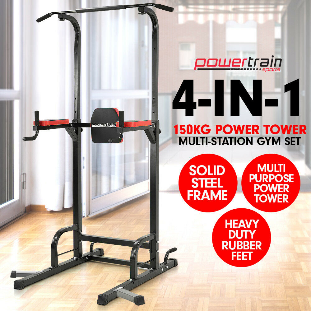 Chin Up Ab Dip Station Home Gym Exercise Equipment Tower