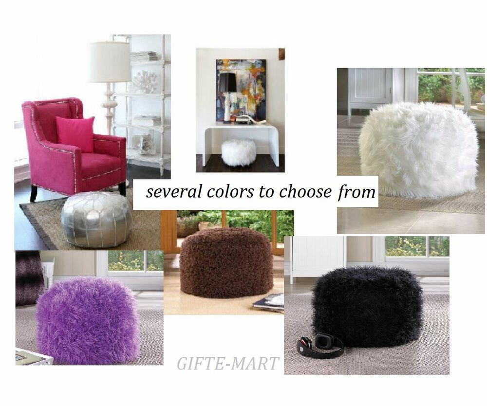 Fuzzy Furry Footstool Floor Pillow Cushion Seat Fabric