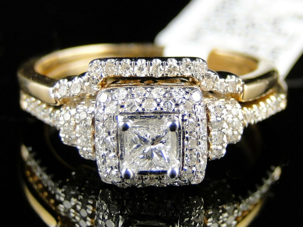 k womens yellow gold diamond princess engagement wedding
