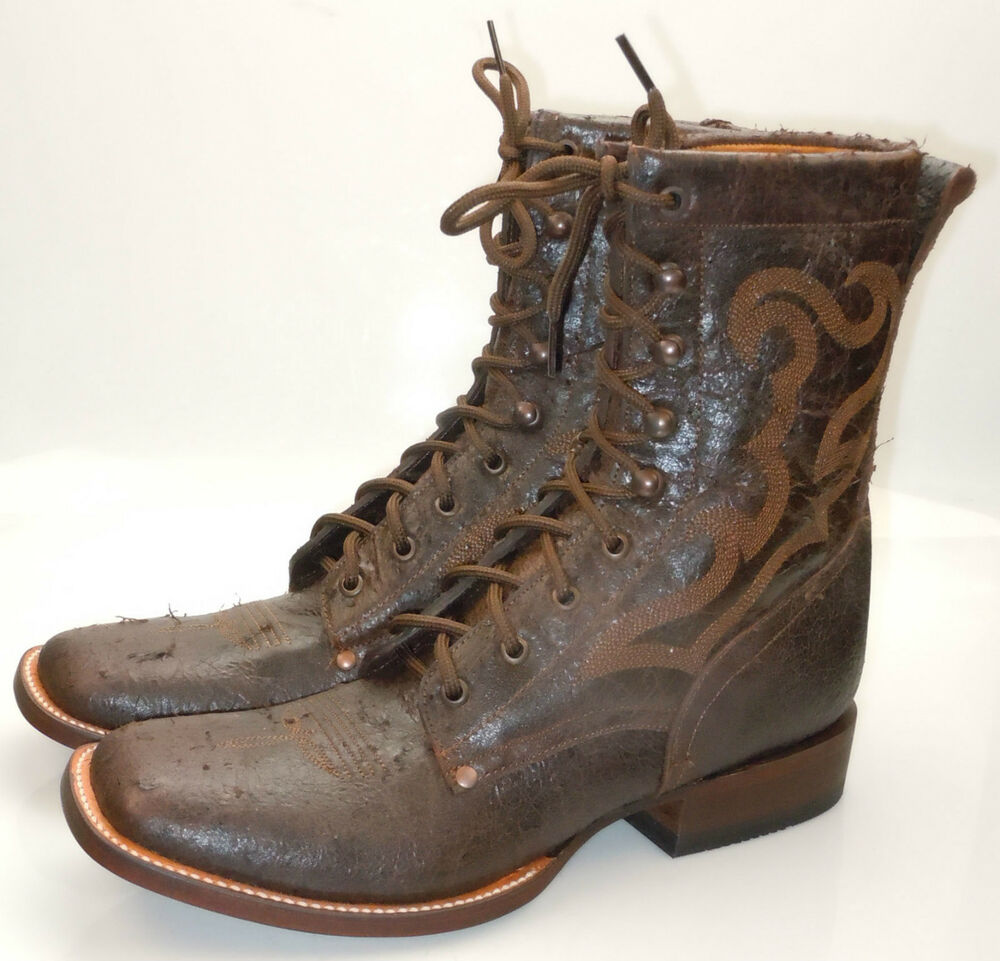 Lucchese Since 1883 M0019 Brown Vintage Calf Leather Lace Up 8 Quot Mens Roper Boots Ebay