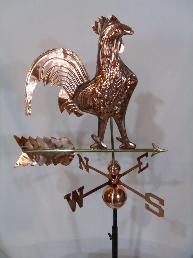 Copper Rooster Weathervane Has Polished Finish With Free