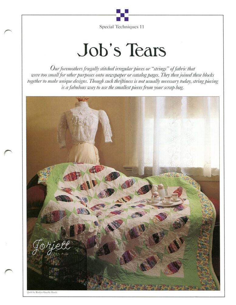 Job S Tears Quilt Amp Block Best Loved Quilt Sewing Pattern