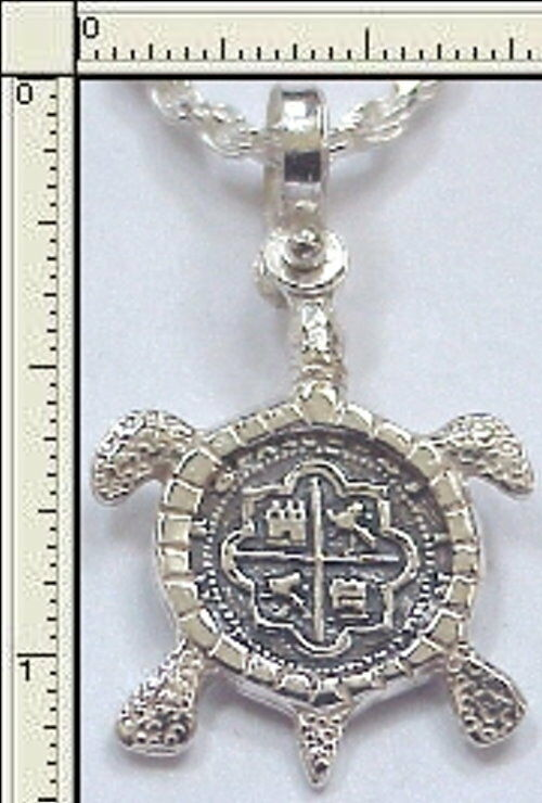 Atocha coin sea turtle silver pendant key west treasure for Key west jewelry stores