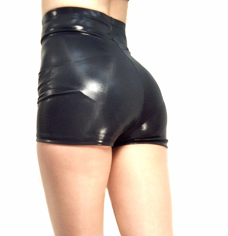 high waisted black shiny wet look shorts hot pants xs s m. Black Bedroom Furniture Sets. Home Design Ideas