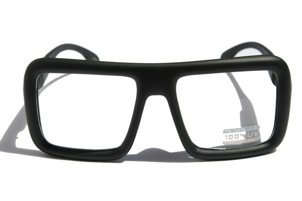 Matte Black Glasses Frame : Large Retro Nerd Bold Thick Square Frame Classic Eye ...